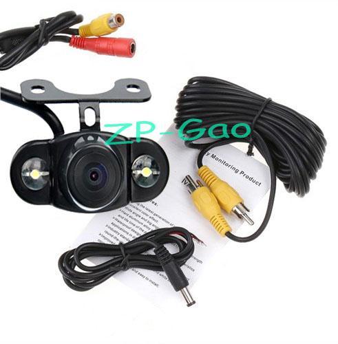 "4.3"" LCD Mirror Monitor + Wireless Waterproof 2 LED Backup Reversing Camera Car Rear View Kit 170°"