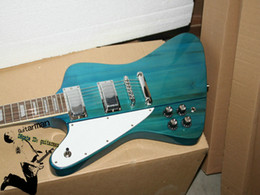 Wholesale Left Handed Custom - Custom Left Handed Guitar FirebirBlue Electric Guitars free shipping