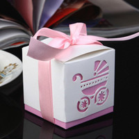 Wholesale Damask Wedding Favor Boxes - Free shipping Damask carriage baby shower favor boxes 30PCS LOT Wedding Party Gift Box