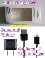 Wholesale Iphone Pin Charger Car - 2 in 1 AC Home Wall Charger Adapter US EU Plug + 6 Pin USB Data Cable For Samsung galaxy micro charger set with retail box 600pcs up.
