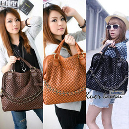Wholesale Brown Leather Bag Sale - On sale Korean Hobo PU Leather Handbag Shoulder Bag Black Brown Coffee Fantastic Gorgeous Free Shipping