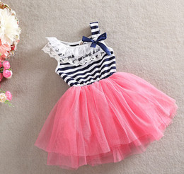 Wholesale Red Stripes Lace Skirt - Summer Girls Lace Tutu Skirt Clothing New Baby Girl Dresses Stripe Princess Dress 3 Colors SY