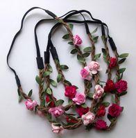 Wholesale Wholesale Floral Fabric - Wholesale - Bride Bohemian Flower Headband Festival Wedding Floral Garland Hair Band Headwear Hair Accessories for Women