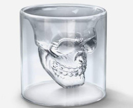 Wholesale crystal skull head whiskey glass - 252 PCS Lot FEDEX Free Shipping, Crystal Skull Shot Glass Wineglass For Vodka   Whiskey, Novelty Skeleton Head Cup With Gift Box