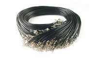 Wholesale Cord Necklaces Quality - 200pcs black Real Leather Necklace Cord Clasps Cord & Wire Jewelry high quality black real leather for free shipping