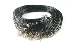 Wholesale Leather Cord Free Shipping - 200pcs black Real Leather Necklace Cord Clasps Cord & Wire Jewelry high quality black real leather for free shipping