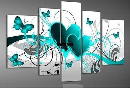 Sarcelle Vert En Gros peint à la main coeur d'amour Art Peinture à L'huile Paysage abstrait peinture cadeau moderne peintures sur toile salon image