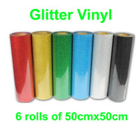 Wholesale Fast HOT DISCOUNT rolls quot x20 quot cmx50cm PET Glitter vinyl for heat transfer heat press cutting plotter
