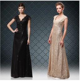 Wholesale Custom Made Mermaid Costume - Hot new superior quality European and American style dress deep V-neck black gold long section gold sequin dress costumes clothing 953