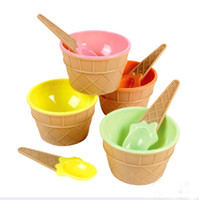Wholesale Dessert Cups - 4 Color Plastic Ice Cream Cup with Spoon Lovely Dessert Bowl MINI Ice Cream Tools 8set lot SH492