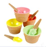 Wholesale Ice Dessert - 4 Color Plastic Ice Cream Cup with Spoon Lovely Dessert Bowl MINI Ice Cream Tools 8set lot SH492