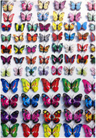 Wholesale Small Colorful Butterflies - 2016 new 500 Pcs Small Size 4CM Colorful Three-dimensional Simulation Butterfly Magnet Fridge Home Decoration