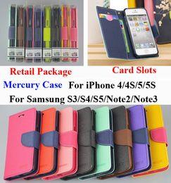 Wholesale S4 Mini Mercury Case - Mercury Wallet PU Flip Leather Case Card Slot For iPhone 4 5 6 Plus Samsung Galaxy S2 S3 S4 S5 S6 Edge Mini Note 2 3 HTC LG SONY