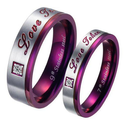 Women S Stainless Steel Love Promise Ring Couples Wedding Bands Us
