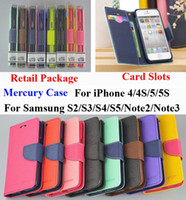 Wholesale S3 Wallet Retail - Mercury Wallet PU Flip Leather Stand Case Card Slots For iPhone 4 4S 5 Samsung Galaxy S3 S4 S5 Mini Note 2 3 M7 M8 G2 With Retail Package