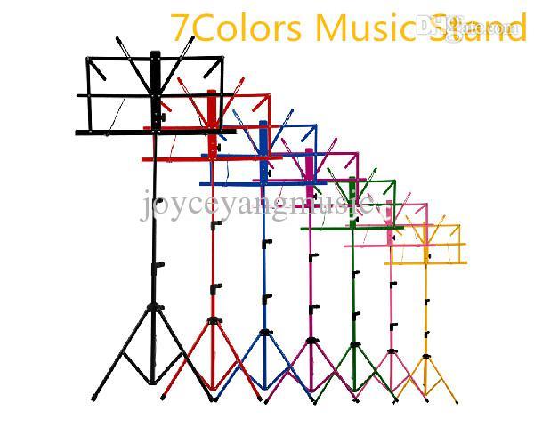 カラフルなシートの折りたたみ音楽スタンド金属三脚のスタンドホルダーギターのためのソフトケースが付いている金属の三脚のスタンドホルダー