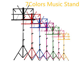 Wholesale Guitar Cases Free Shipping - Colourful Sheet Folding Music Stand Metal Tripod Stand Holder With Soft Case For Guitar Free Shipping Wholesales