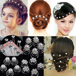 Wholesale Twist Pins Crystal Wholesale - Mix Wedding Bridal Jewelry Crystal & Imitation Pearl Swirl Twist Hair Pin Spin Pins For Women Jewelry [HP05 HP07 HP08*40]