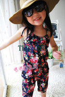 Wholesale Kids Overalls Pants - EMS FREE 50pcs girl's summer flowers suspender rompers pant kids floral Jumpsuits overalls girls summerbeach clothes