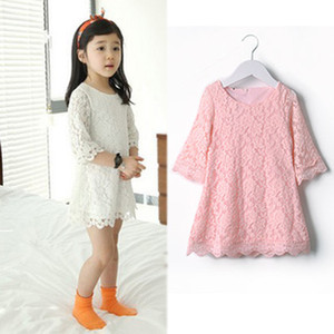 Wholesale girl flower pink white skirt kid lace dress Korean Children Clothes Spring Autumn baby dresses
