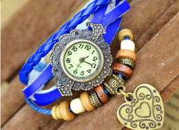 Wholesale Retro Leather Belt - Retro Charms Watches Bracelet Watches New Style Retro Hand-woven Bracelet Watch Heart Bracelet Women Watch 50 pcs DHL Free Shipping