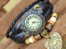 Wholesale Watchs Women - Charms Watches Fashion Bracelet Watchs New Style Retro Hand-woven Bracelet Watch Heart Bracelet Women Watch 20 pcs