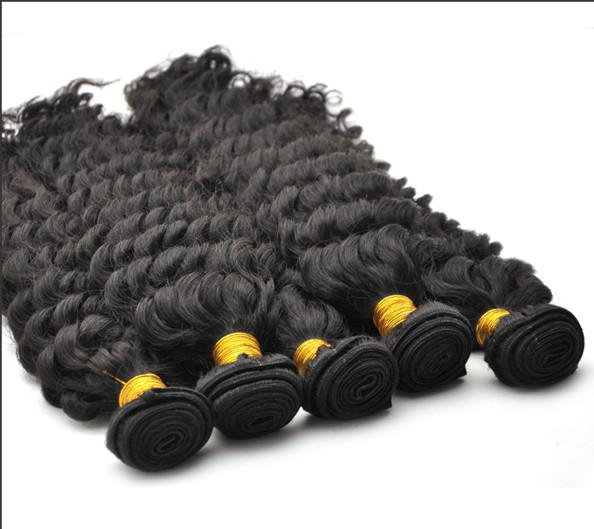 Indisk Queen Virgin Remy Water Wave Curly Deep Wave Natural Color Haft Weft 10