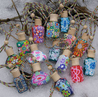 Wholesale Ceramic Perfume Bottles - 15 ml Car hang decoration ceramic Polymer clay essence oil Perfume bottle Hang rope empty bottle