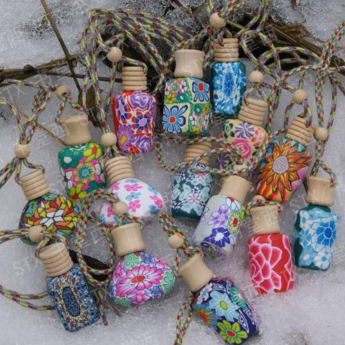 top popular 15 ml Car hang decoration ceramic Polymer clay essence oil Perfume bottle Hang rope empty bottle 2019