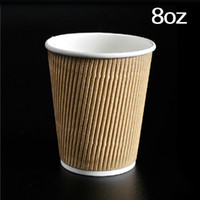 Wholesale paper coffee cups wholesale - Anti-scald Disposable Kraft Paper Coffee Cup 8oz Small Coffe Milk Tea Containers Party Supplies 100pcs lot CK139