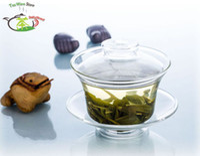 vasos de chá china venda por atacado-1PC de alta quanlity de Resistência ao Calor clara vidro China Gongfu Kung fu 165ml Bule Tea Pot Cup Gaiwan com tampa e pires