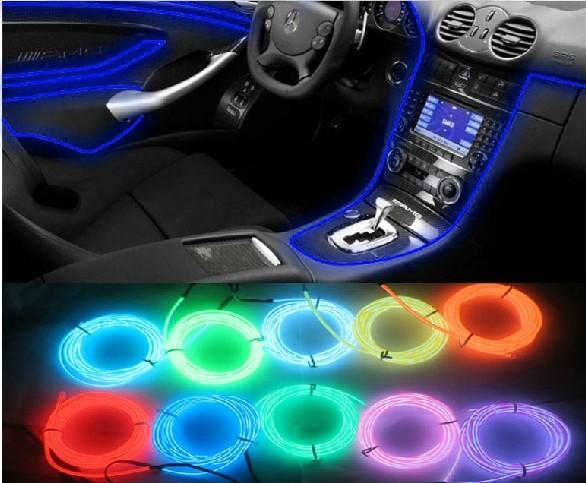 car accessories interior flexible neon light atmosphere lamp el glow wire rope with cigarette. Black Bedroom Furniture Sets. Home Design Ideas