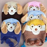 Wholesale Crochet Hat Dogs - Animal Dog Shaped Crochet Baby Hats Caps kids Boy Girl Winter caps for children keep warm 5 colors suit 0-4T children