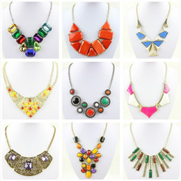 Wholesale collar necklace beaded - Hotsell women necklaces chokers pendants charm jewelry diamond gem beaded necklace candy colors alloy clavicle short collar tennis necklace