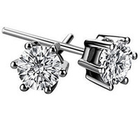 Wholesale Swarovski Crystal 925 - 925 Silver 30% White Gold Plated Ear Studs Swarovski Crystal 1CT Diamond Earring AM4