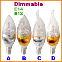 Wholesale Bulbs 3w - 3W Dimmable Led Candle Light Bulb E14 E12 for Chandelier 110V 220V CE ROHS Free Shipping