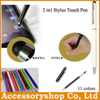 Wholesale Ballpoint Stylus Touch Pen 2in1 - Universal Stylus Pen Metal Aluminium 2in1 Capacitive Ballpoint Touch Pen For iPhone Samsung HTC Retail Packing DHL 100pcs