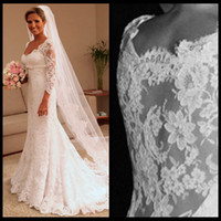 Wholesale Samples Neck Beads - Free Shipping Real Sample Custom Made See Through With Long Sleeves Mermaid Vestidos De Noiva Lace Wedding Dresses With Satin Bow 2014