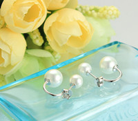 Wholesale Pearl Studs Sterling Silver - 925 Sterling Silver Jewelry Freshwater Pearl Stud Earrings with 925 logo YM1