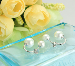 Wholesale American Freshwater Pearls - 925 Sterling Silver Jewelry Freshwater Pearl Stud Earrings with 925 logo YM1