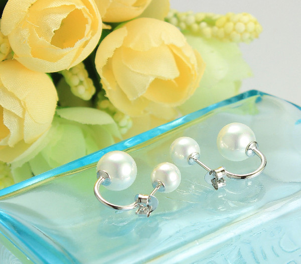 best selling 925 Silver Jewelry Natural Freshwater Pearl Stud Earrings with 925 logo For Women Wedding Party Gifts YM1