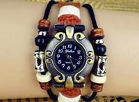 Wholesale Hand Woven Belts - New Style Retro Hand-woven Bracelet Wrist Watch Fashion Leather Women Watch Bangle Bracelet watches 20 pcs Free Shipping