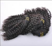 malezya 5a renkli saç toptan satış-20 indirim ! Malezya Bakire Saç Atkı 5A Kıvırcık% 100% İnsan 100 Gram / Adet Saç Uzatma 3 Adet / grup Doğal Renk Mix Uzunluğu
