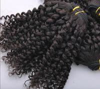 malezya 5a renkli saç toptan satış-20 indirim ! Malezya Bakire Saç Atkı 5A Kıvırcık% 100% İnsan 100 Gram / Adet Saç Uzatma 3-5 Adet / grup Doğal Renk Mix Uzunluğu