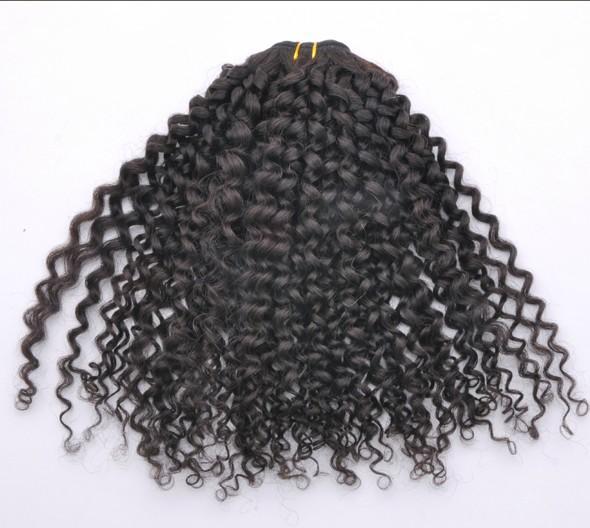20%オフ !マレーシアのバージンの髪のよこ糸5a巻き毛100%人間/ PCSヘアエクステンション3-/ロットナチュラルカラーミックス長