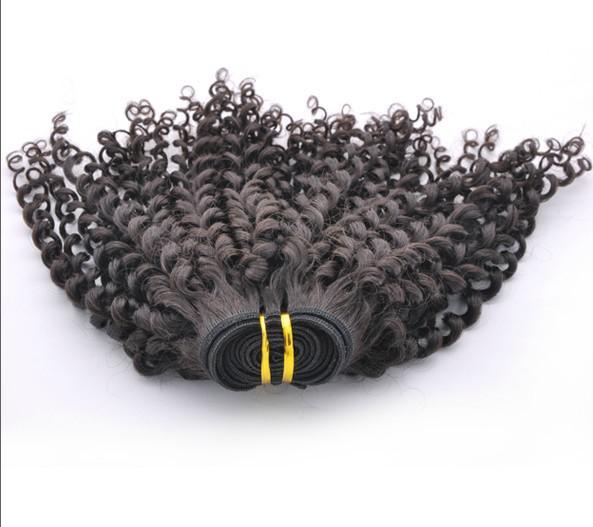 20 indirim ! Malezya Bakire Saç Atkı 5A Kıvırcık% 100% İnsan 100 Gram / Adet Saç Uzatma 3-5 Adet / grup Doğal Renk Mix Uzunluğu