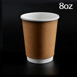 kraft cups Canada - High Quality Insulation Kraft Paper Coffee Cup 8oz Disposable Drinking Cup Fashion Drinkware 100pcs lot CK142