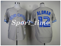 Men blue bird collection - vintage baseball jerseys Toronto Blue Birds Roberto Alomar Gray Throwback Jersey cheap stitched jerseys Cooperstown Collection jerseys