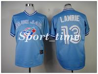 Wholesale Light Blue Baseball Shirt - Blue Jays #13 Brett Lawrie Light Blue Throwback Stitched Baseball Jersey Pullover jersey best quality Cooperstown Collection jerseys shirts