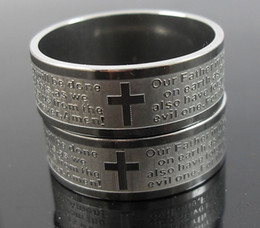 Wholesale Wholesale Ring Etching - 36pcs Etch Mens Silver stainless steel English Lord's prayer Cross rings Jewelry lots FREE SHIPPING